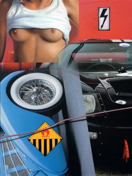 """""""Cars And Girls Nude / Voiture Bleue, Flèche"""". Acrylique sur toile. 130 x 97 cm."""