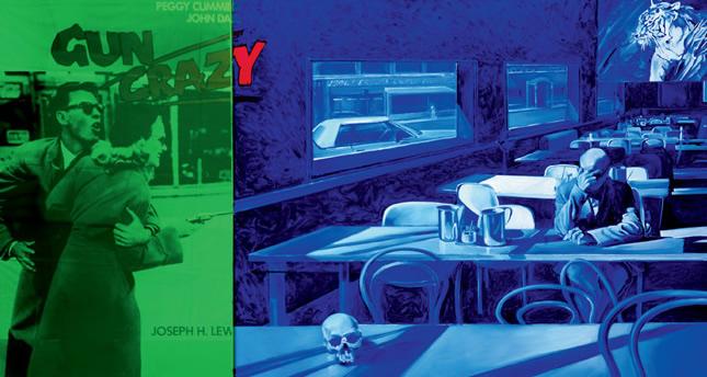 """""""Gun Crazy Couleur n°1"""". Huile sur toile, affiche de cinéma """"Gun Crazy"""", de J.H. Lewis et plexiglas. 160 x 300 cm."""