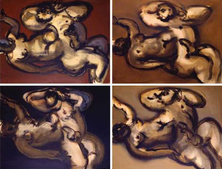 """""""La création d'Eve"""""""" Œuvre composée de 4 huiles sur papier. 100 x 130 cm"""
