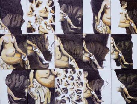 Bethsabée d'après Rembrandt Acrylique sur toile composée de 15 fragments. 76 x 96 cm