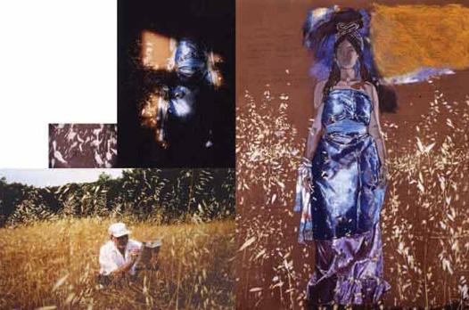 Tsippora et le Peintre Pastel, photo, texte. Polyptyque. 159 x 239 cm