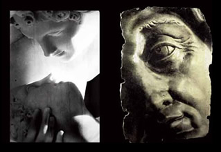 Sarah Sculpture recto-verso en verre et pierre. 135 x 90 cm