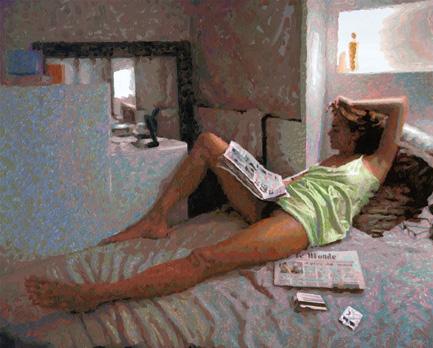 """""""Myriem Bateau Lavoir"""". Acrylique sur toile. 81 x 100 cm."""