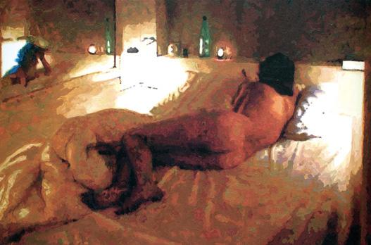 """""""Myriem Palais Royal Couchée"""". Acrylique sur toile. 130 x 195 cm"""