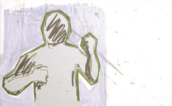 """""""Dalila ou : « Vert de colère » (avec Bonnard)"""". Peinture, impression jet d'encre, sur contre plaqué. 55 x 88,5 cm."""
