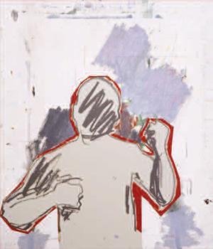 """""""Dalila ou : « Alors, j'ai vu rouge » (avec Bonnard)"""". Peinture, impression jet d'encre, sur stratifié. 75,5 x 60 cm."""