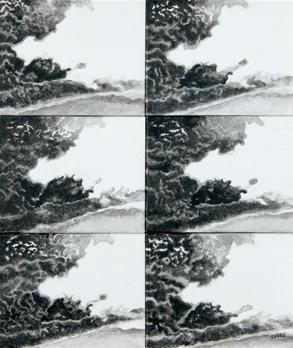 """""""Fumées n°2"""". Acrylique sur toile. 57 x 48 cm."""