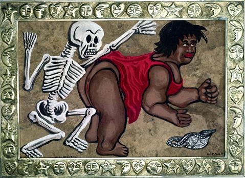 """""""La Poupée avec le Squelette Mexicain"""". Acrylique sur papier amaté et cadre en argent repoussé. 50 x 69 cm."""
