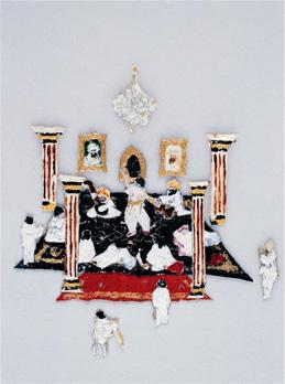 """""""Le Salon de Musique"""". Acrylique sur papier. 11 x 5 cm."""