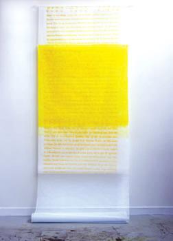 """Sara - Saraï - Sarah - "". Sérigraphie sur tarlatane, cousue au fil de soie. Unique. 280 x 111 cm"