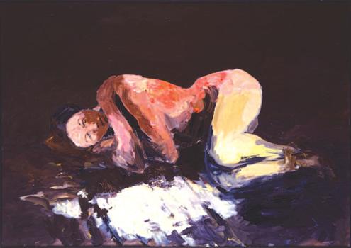 """""""Bethsabée ou la captive"""". Acrylique sur Toile 130 x 162 cm."""