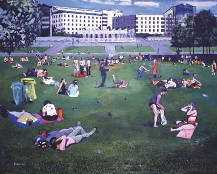 """""""Rebecca aux Fontaines du Parc André Citroën"""". Technique mixte sur toile 130 x 162 cm."""