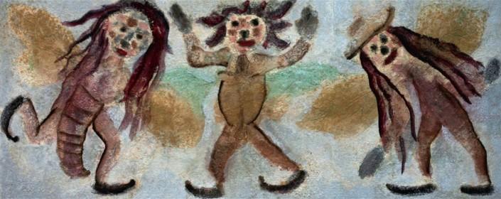 """""""Femmes Insectes"""". Technique mixte, huile et sable sur lin. 55 x 136 cm."""