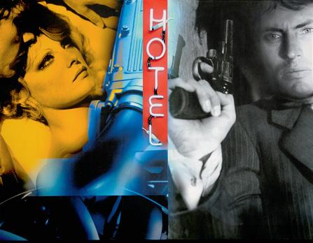 """""""Guet Apens"""". Acrylique sur toile et néons. 116 x 89 cm."""