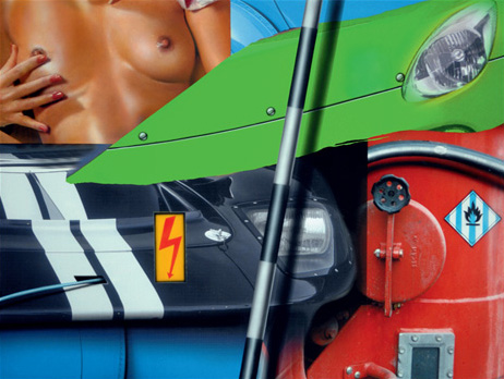 """""""Green Car / Red Machine With Nude"""". Acrylique sur toile. 97 x 130 cm."""