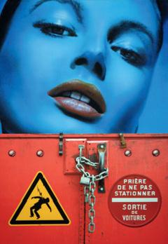 """""""Blue Face / Padlock, High Voltage"""". Acrylique sur toile. 116 x 81 cm."""