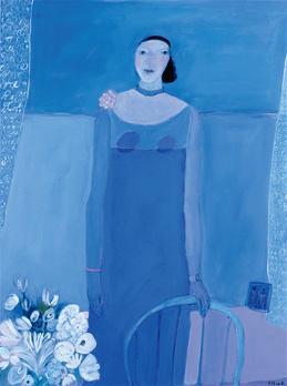 """"""" Jeune Fille Démodée"""". Acrylique sur toile. 120 x 90 cm."""