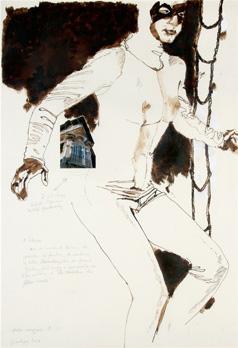 """""""Irma Vep"""". Dessin au pinceau sur papier, photo et texte. 100 x 70 cm."""