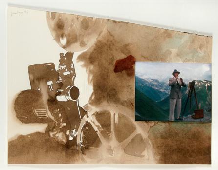 """""""Rumeur dans la Montagne"""". Lavis et photo sur papier. 56 x 69 cm. 1994"""