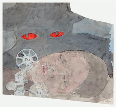 """""""Story Art (avec Vampire)"""". Crayon et Aquarelle sur papier. 31,5 x 33 cm."""