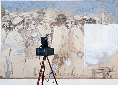 """""""Story Art (avec A mort le peintre !)"""". Fusain, pastel, caséine, texte/toile, pied, valise et projecteur de cinéma Kodak 8mmm. 210 x 314 x 60 cm."""
