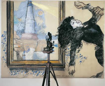 """""""Story Art (avec évanouissement)"""". Fusain, pastel, caséine, texte/toile et projecteur de cinéma pathé 1,5. 160 x 210 x 60 cm."""