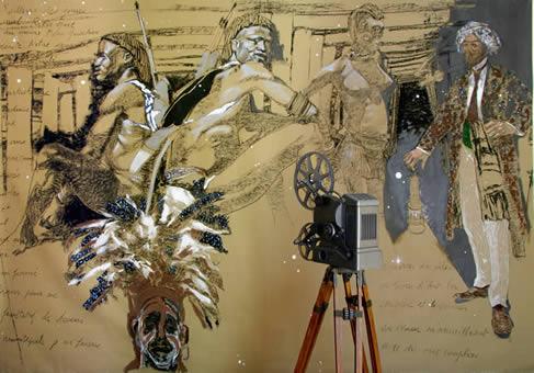 """""""La Mine I.2 ou les Indes Noires"""". Technique mixte sur toile, pied et projecteur de cinéma. 214 x 304 cm."""