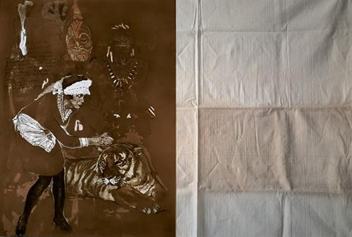 """""""L'Ecran 1"""". Pastel, photo et texte. Diptyque en tout 150 x 220 cm."""