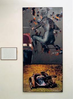"""""""Personnage 32"""". Portrait d'un side car. Irma Vep. Musidora. Technique mixte sur carton, texte, photo jet d'encre sur polyester. Diptyque en tout 210 x 100 cm et texte 30 x 40 cm."""
