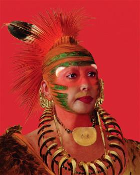"""Refiguration Self-Hybridation, série indienne-américaine n°1. """"Portrait peint de No-No-Mun-Ya, celui qui ne prête pas attention"""", avec un portrait photographique d'orlan. Photographie numérique. 152,4 x 124,4 cm. Édition de 5"""