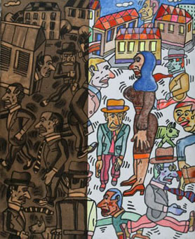 Encuentro - Huile sur toile - 60 x 50 cm