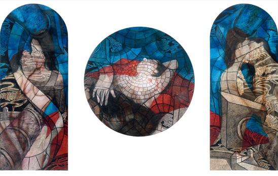 """""""Présence, Essence, Puissance"""". Triptyque. huile, encaustique sur toile. 170 x 240 cm."""
