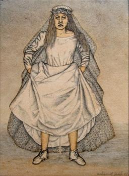 """""""La Fiancée Qui Pisse"""". Technique mixte, encre, acrylique et huile sur papier. 28 x 21,5 cm."""